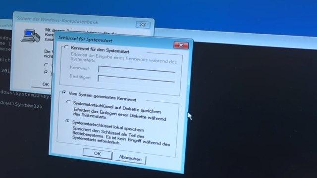Falscher Microsoft Techniker verschlüsselt PC - Abzockanruf - Windows 10 wieder freischalten - syskey.exe aufgerufen