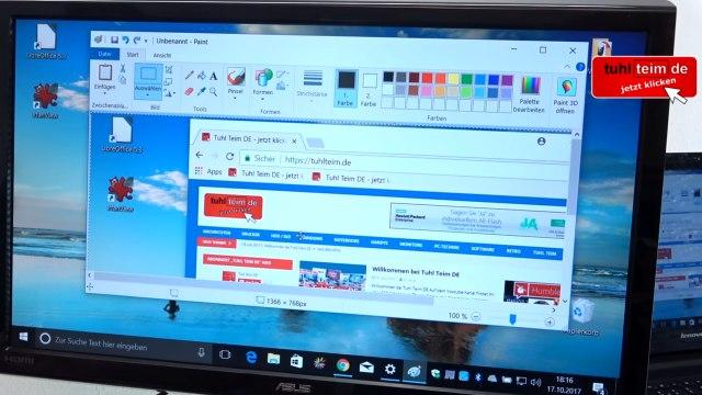 Windows 10 Screenshot Bildschirmfoto machen ohne Extrasoftware - speichern, drucken oder in Word einfügen - Bildschirmkopie in Paint eingefügt