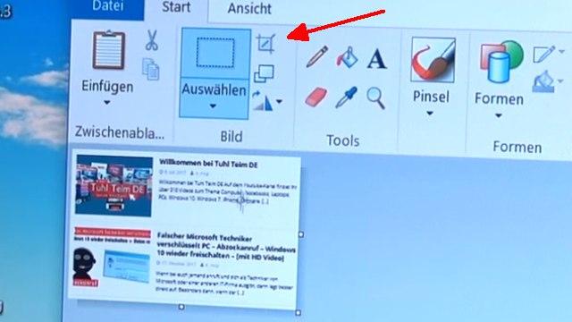 """Windows 10 Screenshot Bildschirmfoto machen ohne Extrasoftware - speichern, drucken oder in Word einfügen - """"Zuschneiden""""-Symbol"""