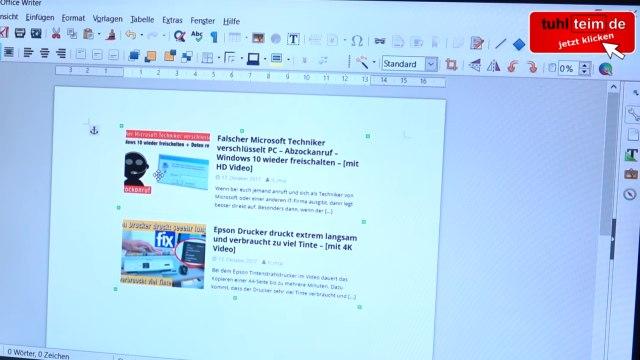 Windows 10 Screenshot Bildschirmfoto machen ohne Extrasoftware - speichern, drucken oder in Word einfügen - in Word oder LibreOffice-Writer einfügen