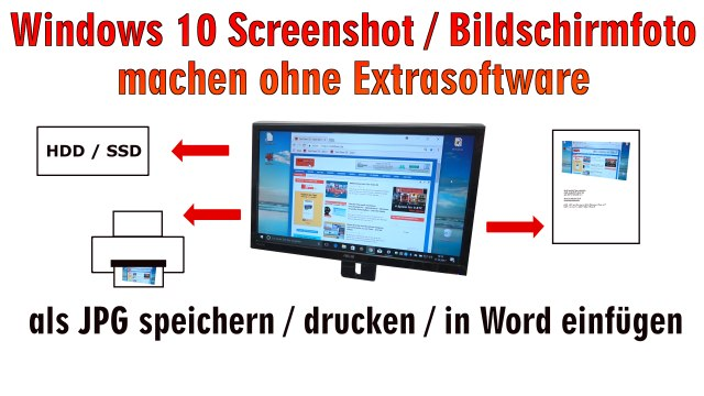 Windows 10 Screenshot Bildschirmfoto machen ohne Extrasoftware - speichern, drucken oder in Word einfügen