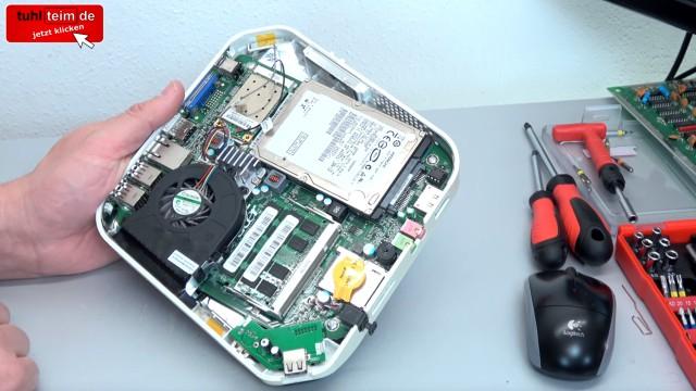 Acer Aspire Revo mini PC öffnen + Festplatte SSD ausbauen | Lüfter RAM CMOS - Mainboard mit HDD und RAM-Modulen