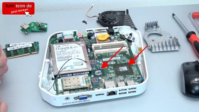 Acer Aspire Revo mini PC öffnen + Festplatte SSD ausbauen | Lüfter RAM CMOS - Kühlelement ausbauen - GPU und CPU Wärmeleitpaste