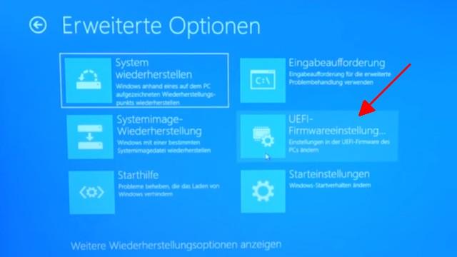 """Lenovo Notebook BIOS starten - aufrufen mit Büroklammer - """"Erweiterte Optionen"""" von Windows 10 UEFI-Firmwareeinstellungen"""