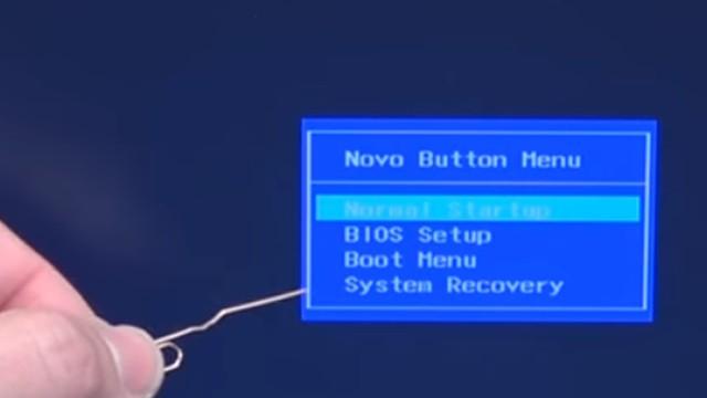 Lenovo Notebook BIOS starten - aufrufen mit Büroklammer - Novo-Button Menu - Bios oder Boot Menü