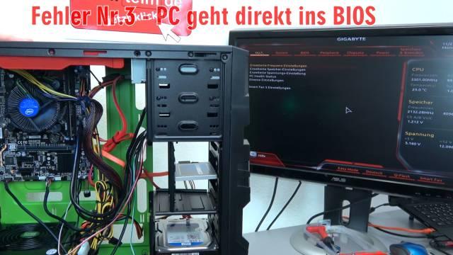 Neuer PC zeigt kein Bild - startet bootet nicht - erkennt USB SSD HDD nicht - selbst gebaut - PC geht nach Einschalten direkt ins Bios