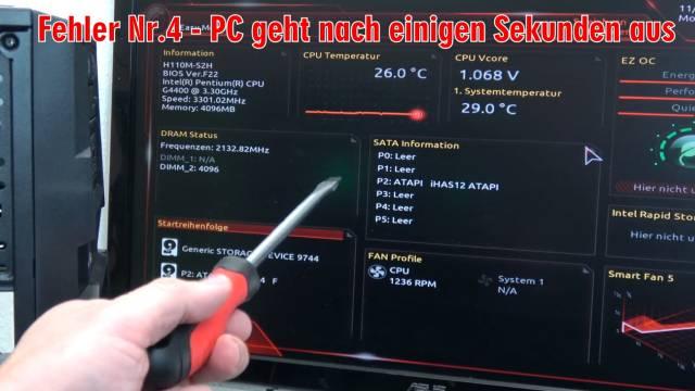 Neuer PC zeigt kein Bild - startet bootet nicht - erkennt USB SSD HDD nicht - selbst gebaut - PC geht selbst aus