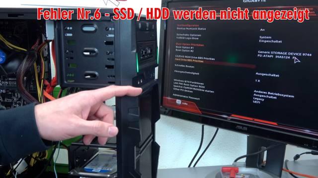 Neuer PC zeigt kein Bild - startet bootet nicht - erkennt USB SSD HDD nicht - selbst gebaut - SSD und Festplatte werden nicht gefunden