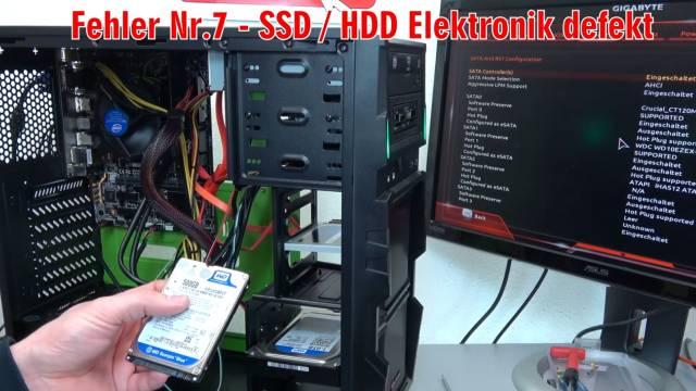 Neuer PC zeigt kein Bild - startet bootet nicht - erkennt USB SSD HDD nicht - selbst gebaut - defekte Elektronik der SATA-Platte