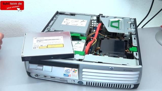 PC Gehäuse Test - Heute gegen Früher - billig und klapprig gegen teuer und solide - Hewlett-Packard Desktop-PC-Gehäuse - DVD ausbauen
