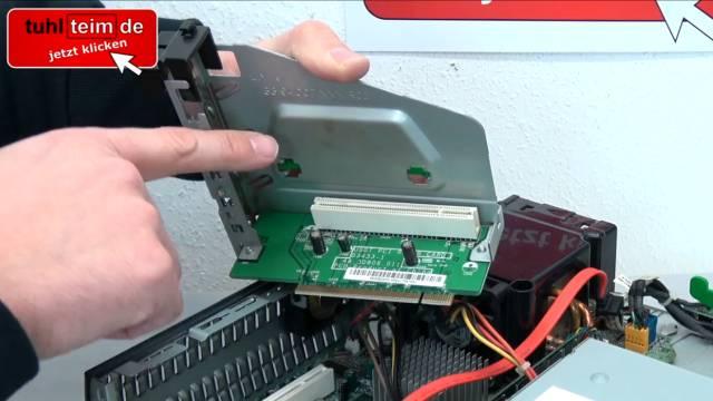 PC Gehäuse Test - Heute gegen Früher - billig und klapprig gegen teuer und solide - Hewlett-Packard Desktop-PC-Gehäuse - PCI Riser Card ausbauen