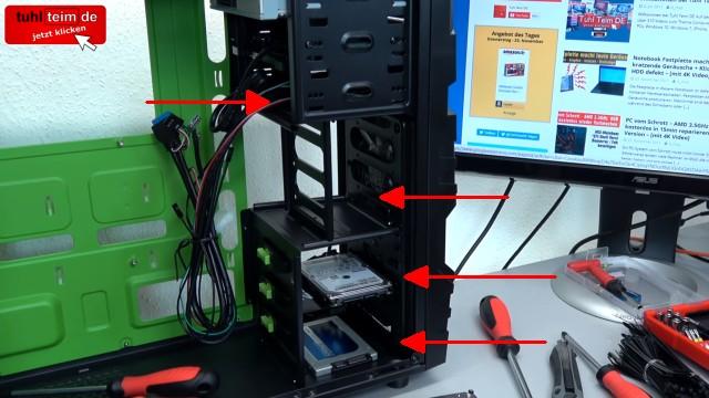 PC zusammenbauen - Schritt für Schritt - eigenen Rechner bauen - Anleitung - SSD und Festplatte einbauen