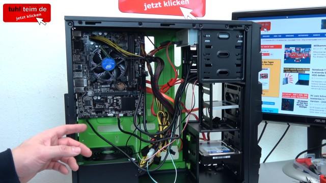 PC zusammenbauen - Schritt für Schritt - eigenen Rechner bauen - Anleitung - SATA-Kabel und Ein- und Reset-Schalter anschließen
