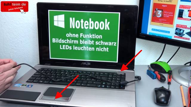 Laptop Reparatur kostenlos - nur Netzteilbuchse nachlöten - Notebook defekt ohne Funktion - keine LED leuchtet