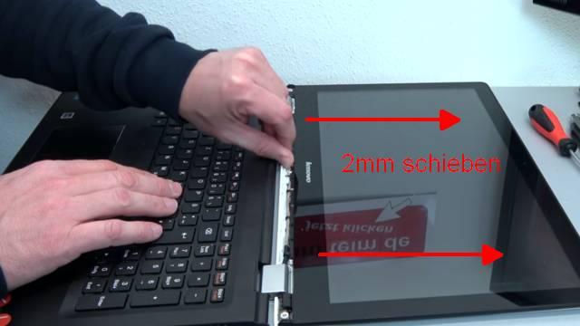 Lenovo Yoga kaum benutzt schon kaputt - Notebook öffnen Akku RAM CMOS Display wechseln - Touchscreen-Display 2mm nach vorne schieben