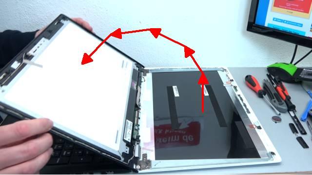 Lenovo Yoga kaum benutzt schon kaputt - Notebook öffnen Akku RAM CMOS Display wechseln - Touchscreen-Display nach oben umklappen