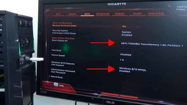 Neuer PC Windows 10 installieren von USB - UEFI-Bios einstellen - Windows schneller machen - USB-Stick gefunden und bootbar