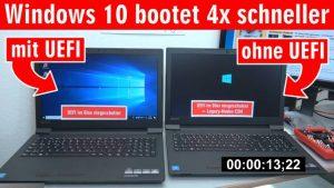 Windows 10 startet 4x schneller - mit UEFI vs. ohne UEFI (BIOS) - Booten beschleunigen