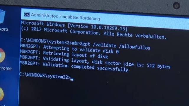 Windows 10 - mbr2gpt.exe - Windows 10 schneller machen - HDD SSD umformatieren - mbr2gpt /validate /allowfullos