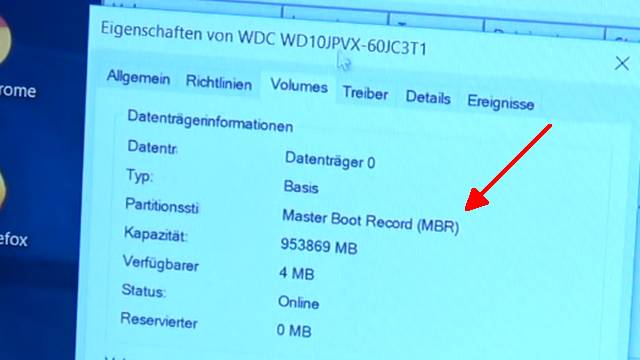 Windows 10 - mbr2gpt.exe - Windows 10 schneller machen - HDD SSD umformatieren - Partitionsstil Master Boot Record (MBR)