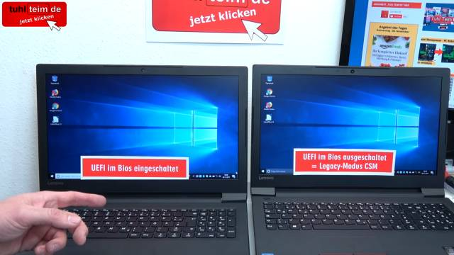 Windows 10 startet 4x schneller - mit UEFI vs. ohne UEFI (BIOS) - Booten beschleunigen - zwei identische Notebooks