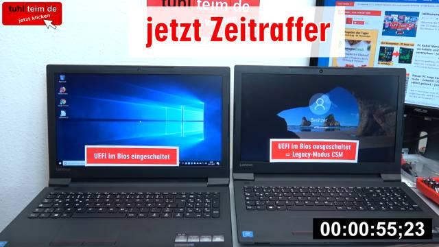 Windows 10 startet 4x schneller - mit UEFI vs. ohne UEFI (BIOS) - Booten beschleunigen - rechtes Notebook bootet in über 55 Sekunden