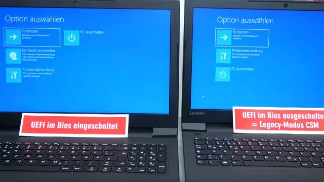 Windows 10 startet 4x schneller - mit UEFI vs. ohne UEFI (BIOS) - Booten beschleunigen - linkes Notebook mit UEFI-Bootoption