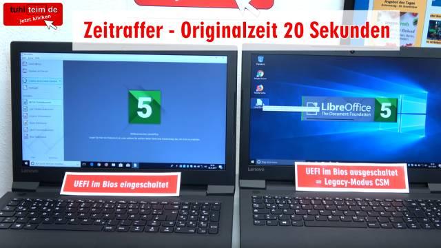 Windows 10 startet 4x schneller - mit UEFI vs. ohne UEFI (BIOS) - Booten beschleunigen - Apps und Programme starten schneller bei UEFI