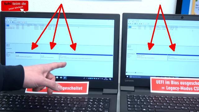 Windows 10 startet 4x schneller - mit UEFI vs. ohne UEFI (BIOS) - Booten beschleunigen - Festplattenpartitionen bei UEFI und bei Legacy