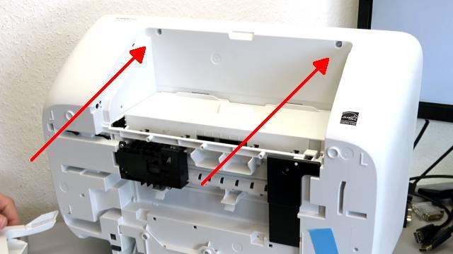 HP Drucker nagelneu und schon defekt - alle LEDs blinken - Tipps zur Fehlersuche - zwei Schrauben an der Vorderseite