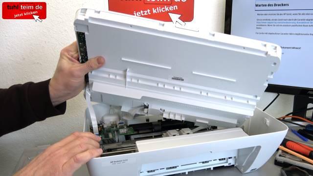 HP Drucker nagelneu und schon defekt - alle LEDs blinken - Tipps zur Fehlersuche - Deckel mit Scanner abnehmen