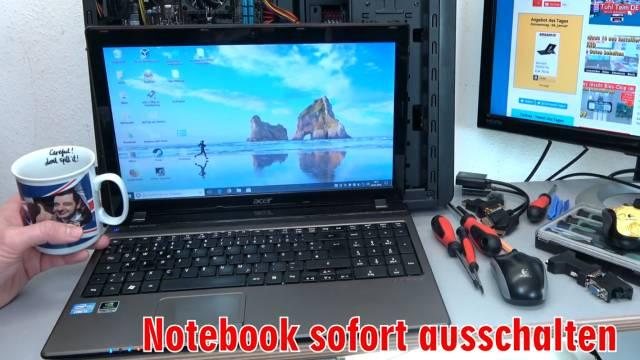 Laptop Wasserschaden - Flüssigkeit im Notebook - Erste Hilfe und Tipps - Kaffee Tee Cola - Tipp 1 - Notebook sofort ausschalten