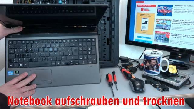 Laptop Wasserschaden - Flüssigkeit im Notebook - Erste Hilfe und Tipps - Kaffee Tee Cola - Tipp 4 - Notebook aufschrauben und trocknen