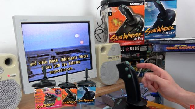 Microsoft Sidewinder Joysticks Force Feedback aus den 90ern mit Gameport - Test - Installation - 3 klassische Sidewinder Joysticks