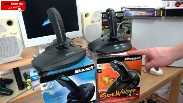 Microsoft Sidewinder Joysticks Force Feedback aus den 90ern mit Gameport - Test - Installation - 15-poliger Sidewinder Standard und 3D Pro mit Originalverpackung
