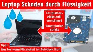 Laptop Wasserschaden - Flüssigkeit im Notebook - Erste Hilfe und Tipps - Kaffee Tee Cola