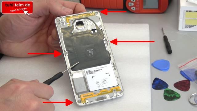Samsung Galaxy A5 öffnen - Akku wechseln - Akku schnell leer und heiß - alle Schrauben entfernen