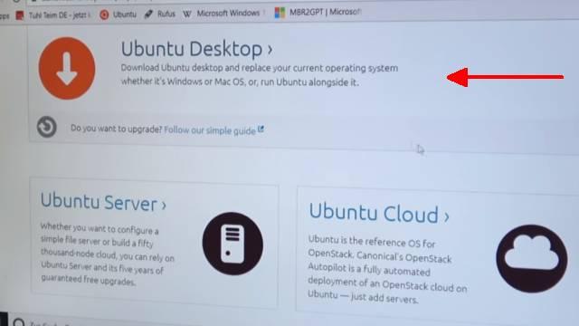 Ubuntu Linux installieren - Download - USB-Stick erstellen - auf UEFI Notebook installieren - Ubuntu Webseite Desktop Version