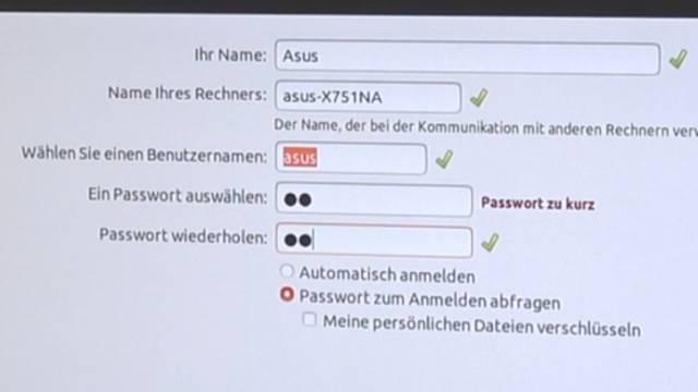 Ubuntu Linux installieren - Download - USB-Stick erstellen - auf UEFI Notebook installieren - Benutzername und Passwort
