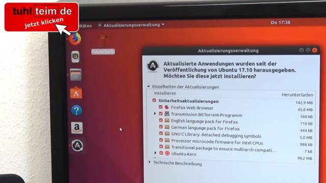 Ubuntu Linux installieren - Download - USB-Stick erstellen - auf UEFI Notebook installieren - Ubuntu Aktualisierungsverwaltung