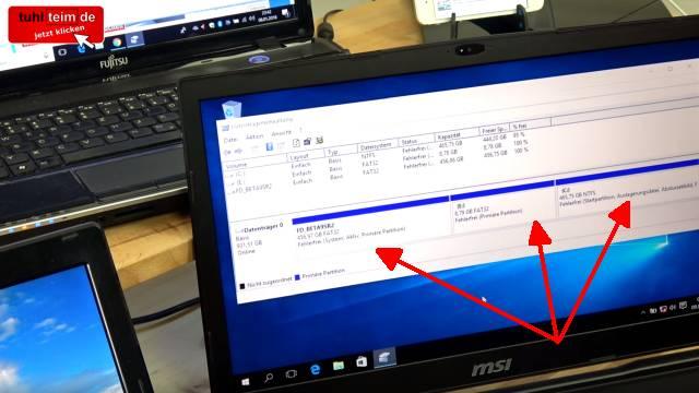 Wie man seine Festplatte NICHT partitionieren sollte bei Windows 10 - HDD oder SSD - UEFI Notebook ohne EFI und mit FAT32-Partitionen