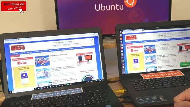 Windows 10 gegen Ubuntu 17 Linux Test auf identischen neuen UEFI Notebooks - Google Chrome läuft auf Windows und Ubuntu gleich