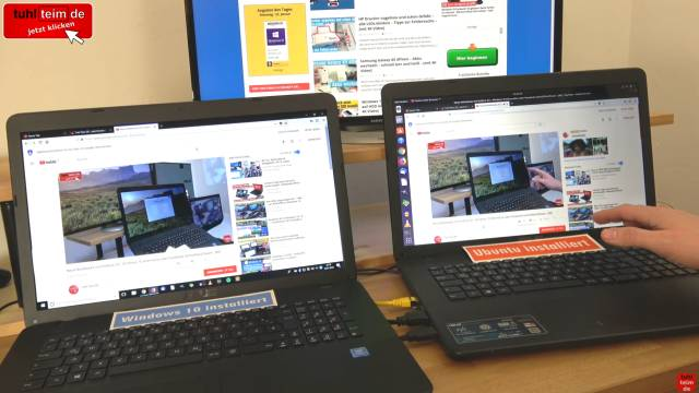Windows 10 gegen Ubuntu 17 Linux Test auf identischen neuen UEFI Notebooks - Youtube Videos funktionieren