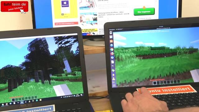 Windows 10 gegen Ubuntu 17 Linux Test auf identischen neuen UEFI Notebooks - Minetest funktioniert tadellos