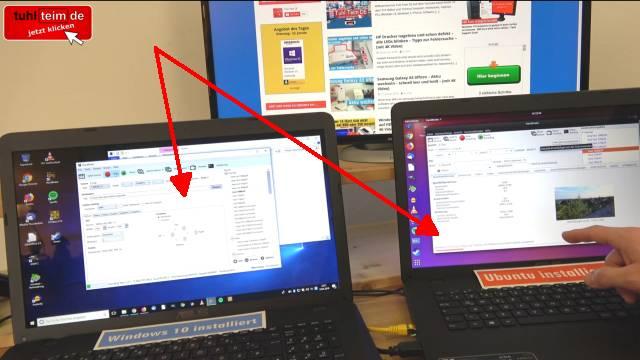 Windows 10 gegen Ubuntu 17 Linux Test auf identischen neuen UEFI Notebooks - Handbrake läuft auf Windows besser