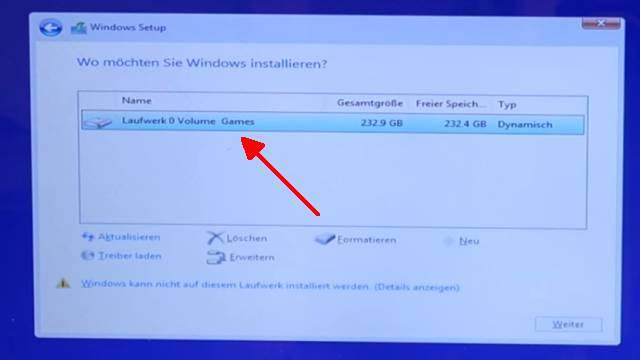 Windows 10 lässt sich nicht installieren auf HDD oder SSD - einfache Lösung - Dynamische Partition gefunden