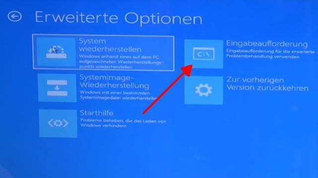 Windows 10 lässt sich nicht installieren auf HDD oder SSD - einfache Lösung - hier Eingabeaufforderung anklicken