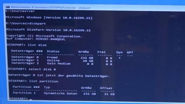 Windows 10 lässt sich nicht installieren auf HDD oder SSD - einfache Lösung - diskpart.exe - list partition