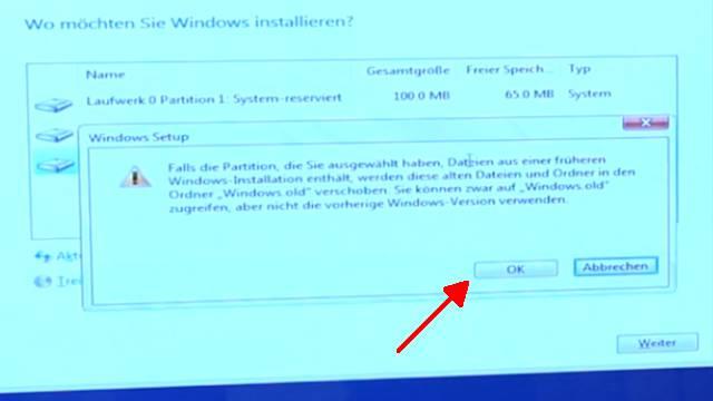 """Windows 10 neu installieren ohne Datenverlust - alte Daten behalten - Emails Dokumente - wichtige Meldung und """"OK"""" wählen"""