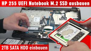 HP Notebook 255 öffnen M.2 SSD ausbauen - 2TB SATA HDD einbauen - Bios einstellen - Windows 10 installieren